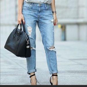 Express Women's Mid Rise Distressed Girlfriend Denim Jeans Light Wash